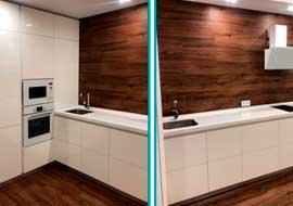 Фото кухня белая с пеналом на коричневом фоне