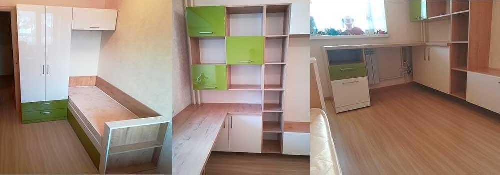 Корпусная мебель кровать и шкаф белого и зеленого цвета