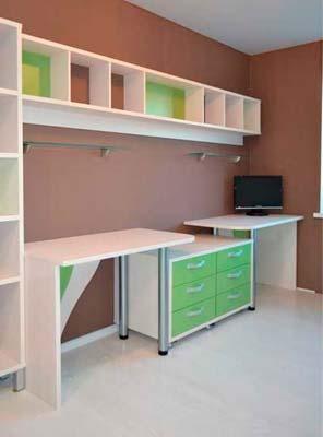 Фото Комплект мебели в детской комнате Белого и зеленого цвета