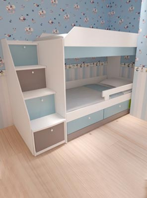 3D Дизайн фото Кровать в детской комнате бело голубого цвета