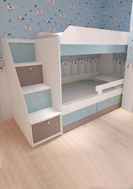 Картинка Кровать в детской бело голубого цвета