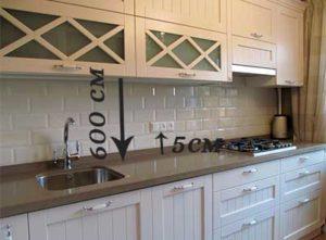 картинка с расположением фартука кухни и розетки