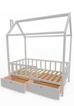 Фото Детская кровать домик из массива дерева